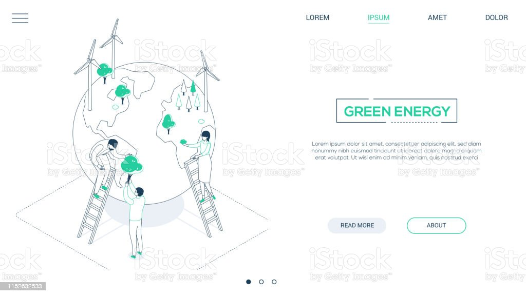Save The Planet Line Design Style Isometric Web Banner Stock