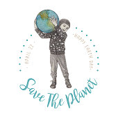 Save The Planet. Little Boy Holding Planet Earth. An original artwork vector illustration of little boy save the Earth in stipple effect with typography. This inspirational design can be a postcard, invitation or flyer.