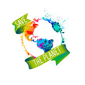 Save the planet. Splash paint vector Earth