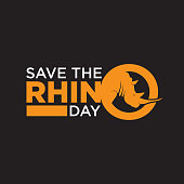 Save The Rhino Day lettering simple design for background or greeting card. Vector illustration EPS.8 EPS.10