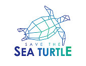 Vector Save The Sea turtle seamless icon isolated on a white background. EPS Ai 10 file format.