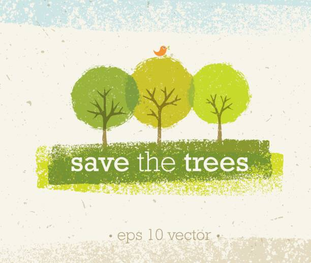save the trees rough eco illustration on paper background - ratunek stock illustrations