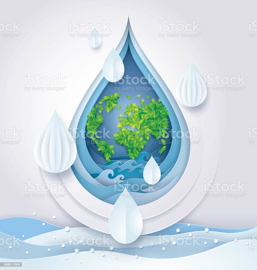 Save the Water and world, Leaf Earth globe map in Abstract Water drop Background vector art illustration