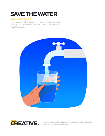 Save The Water Concept for Posters, Covers and Banners. Modern Flat Design Vector Illustration.