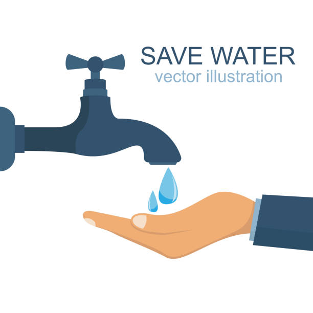 save the water flat vector design illustration - tap water stock illustrations
