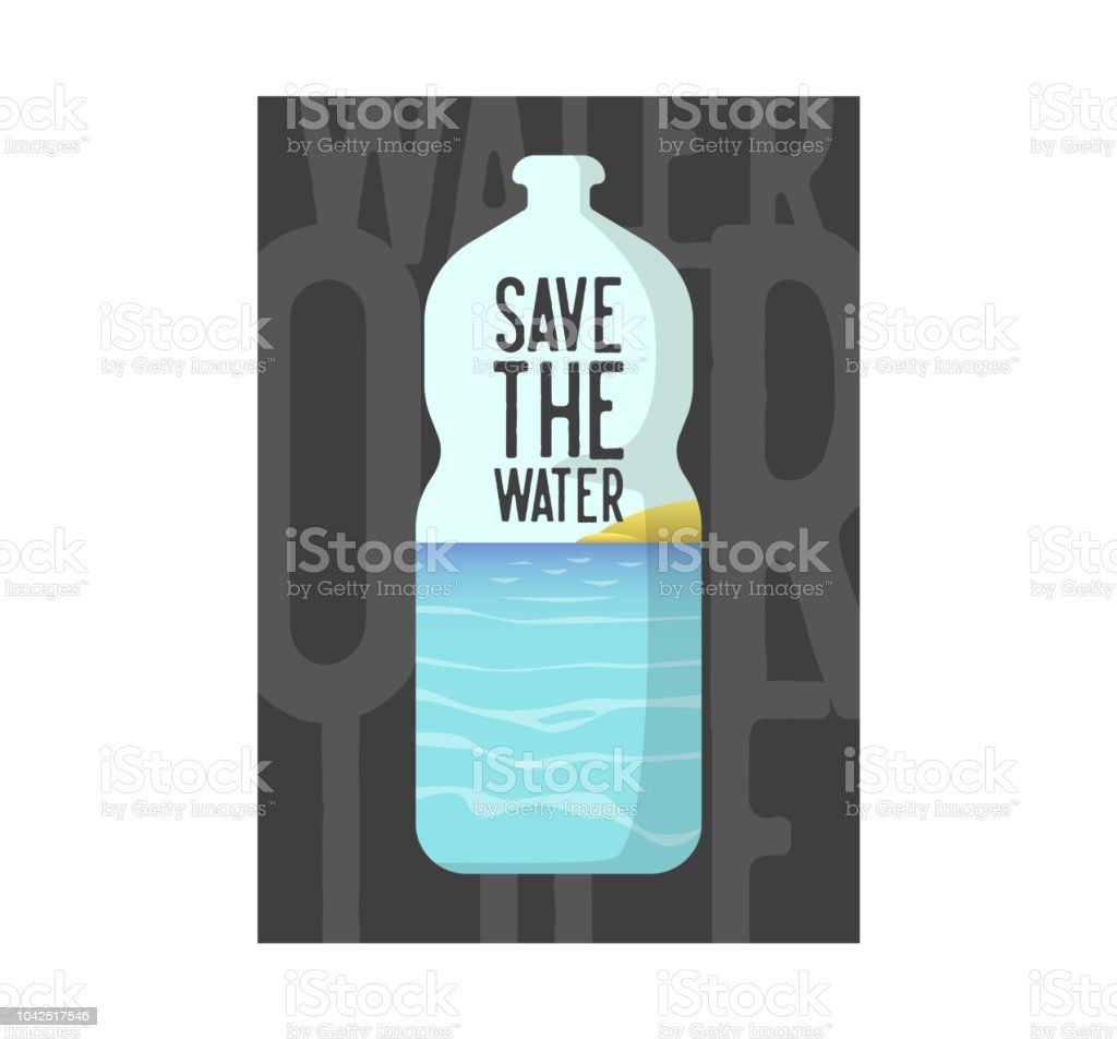 Save the Water Poster, Banner, Brochure, Flyer. Ecology Environment Concept. World Water Day Design. Vector illustration vector art illustration