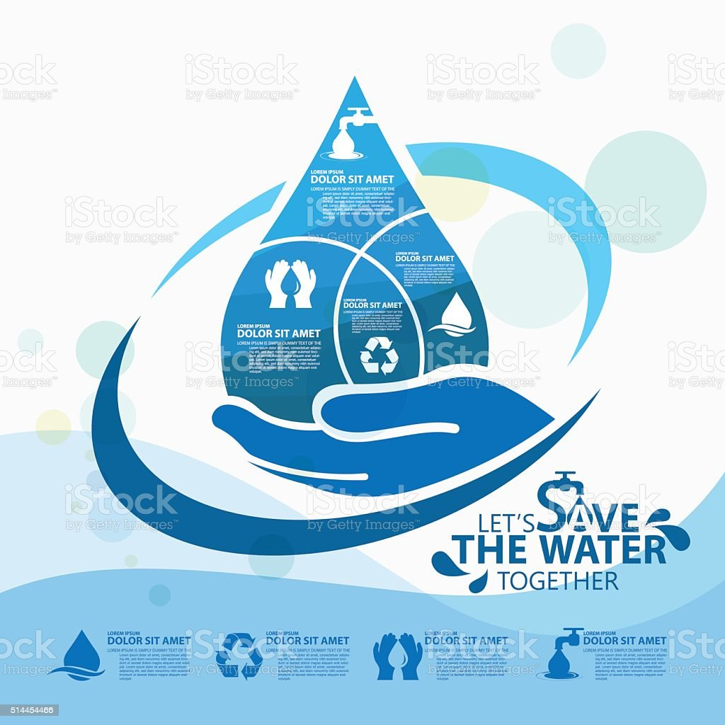 save the water vector art illustration