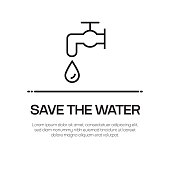Save The Water Vector Line Icon - Simple Thin Line Icon, Premium Quality Design Element