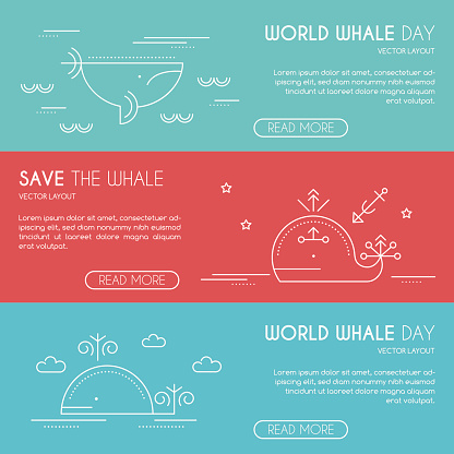 Save the whale company banner design template, thin line style