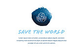 Save the World Banner Design with Line Icon in Watercolor Background