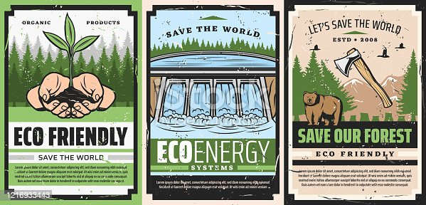 Ecology and environment protection, save the world and forest eco friendly retro posters, grunge vector design. Hands holding sprout, water dam hydroelectric station, wild bear animal and birds