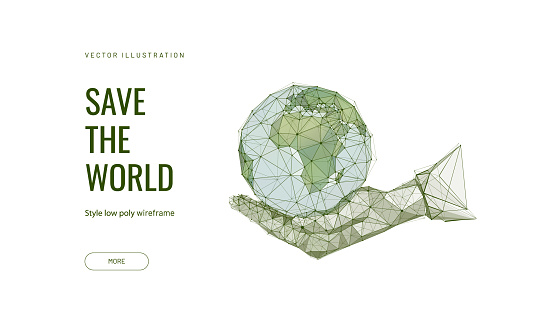 Save the world low poly wireframe landing page template. Ecology science web banner. 3d Earth globe in human handbreadth polygonal illustration. Planet in mankind hands art homepage design layout