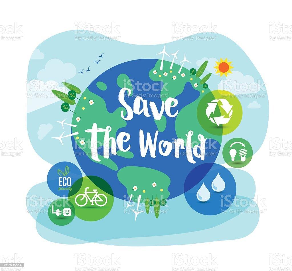 Save the World sustainable development concept illustration