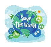 Save the World sustainable development ecology concept illustration
