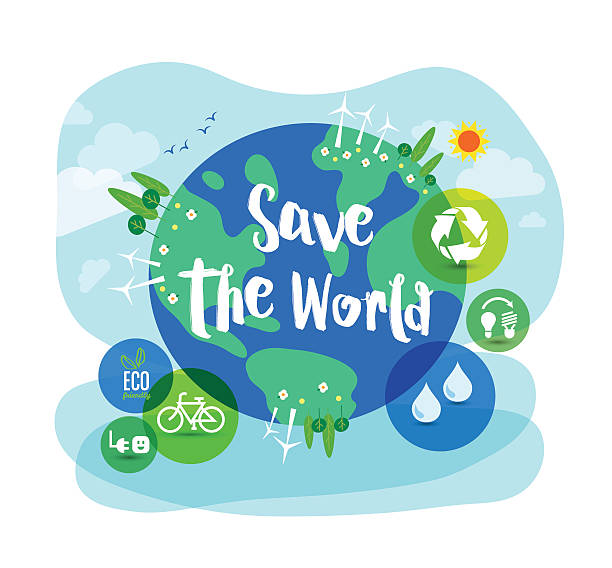 stockillustraties, clipart, cartoons en iconen met save the world sustainable development concept illustration - red