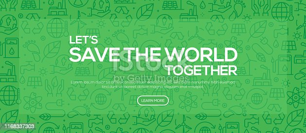 Save The World Together - Green Pattern Style Web Banner Design