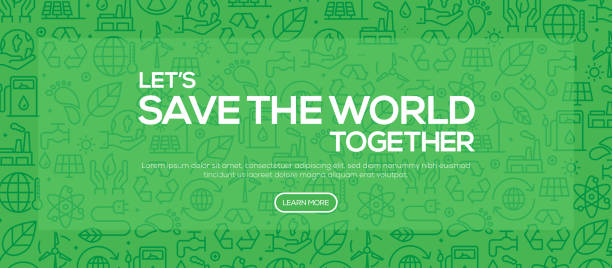 save the world together - green pattern style web banner design - ущерб окружающей среде stock illustrations