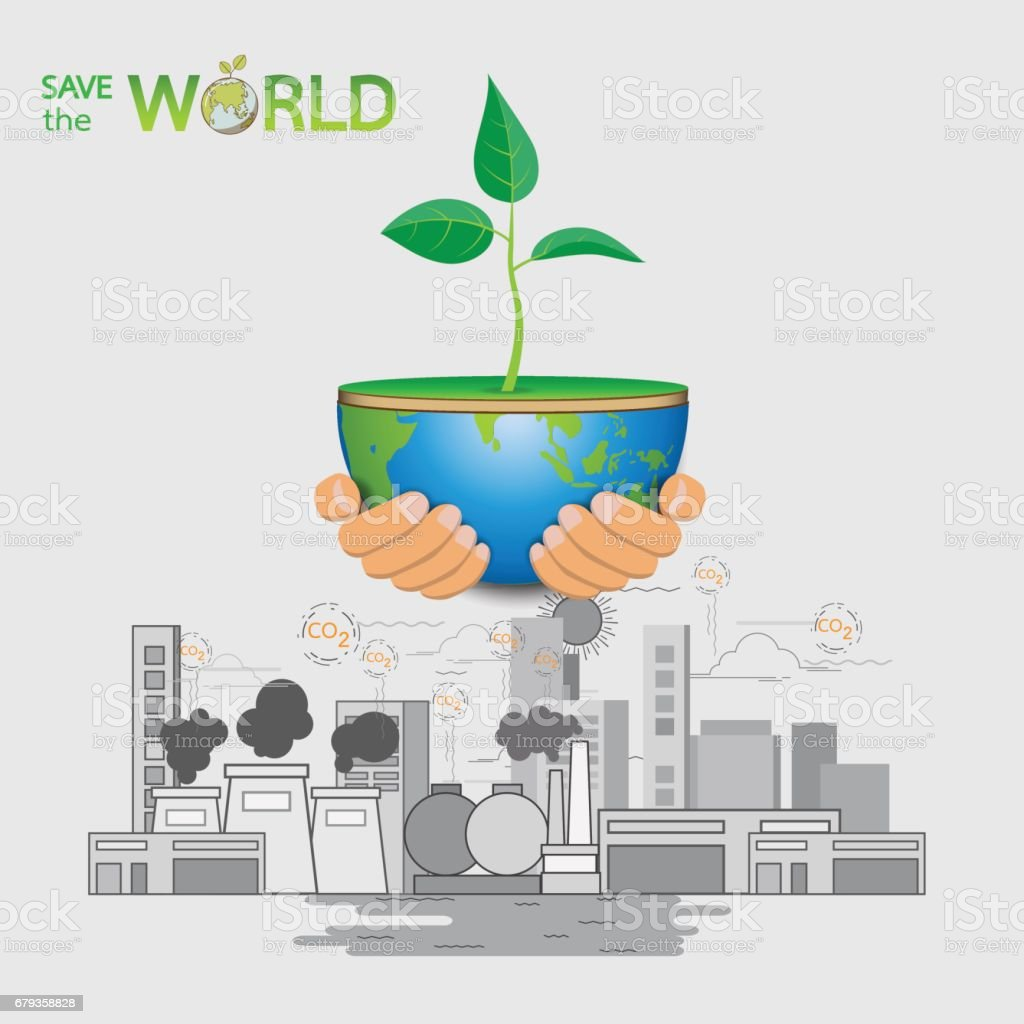 save the worldhand holding the earth and sapling with eco concept design stock vector art more. Black Bedroom Furniture Sets. Home Design Ideas