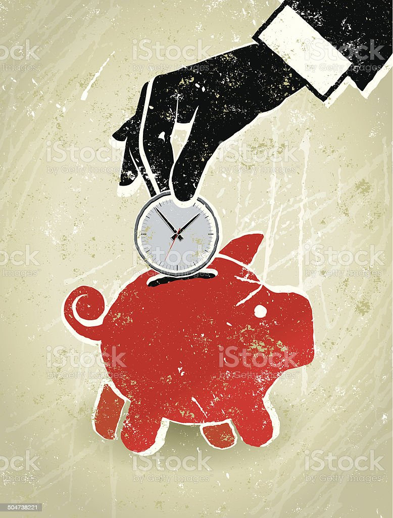 Save Time, Businessman's Hand, Clock and Piggy Bank vector art illustration