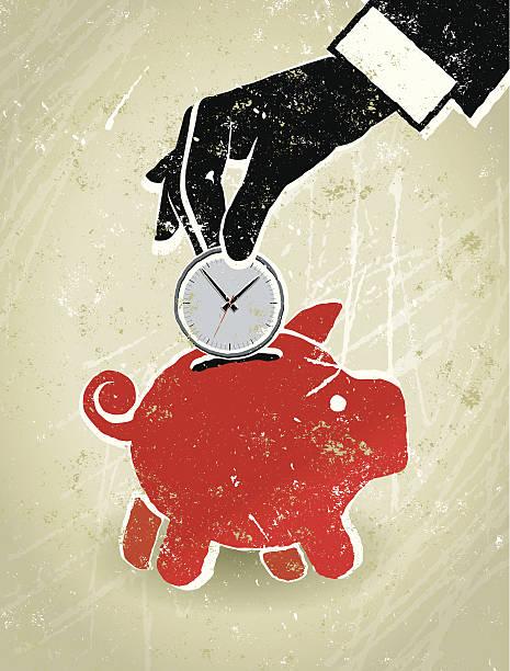 sparen sie zeit, geschäftsmann hand, radiowecker und sparschwein - hauswirtschaft stock-grafiken, -clipart, -cartoons und -symbole