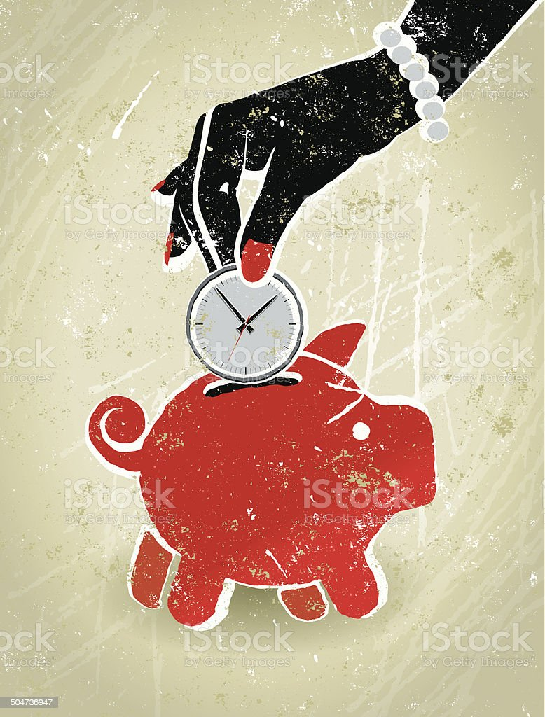 Save Time, Businesswoman's Hand, Clock and Piggy Bank vector art illustration