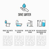 Save water concept: toilet, bathtub, tap and brushing teeth economy usage. Thin line vector illustration.