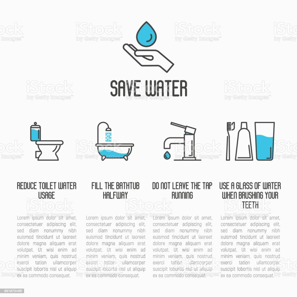 Save water concept: toilet, bathtub, tap and brushing teeth economy usage. Thin line vector illustration. vector art illustration