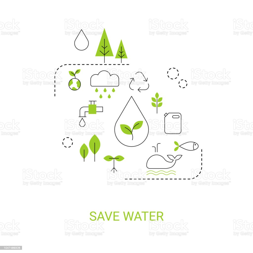 Save water concept vector art illustration