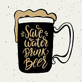 Save water drink beer. Hand drawn beer mug with lettering phrase isolated on white background. Design element for poster, card. Vector illustration