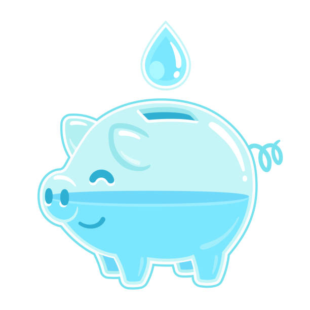 Save water piggy bank vector art illustration