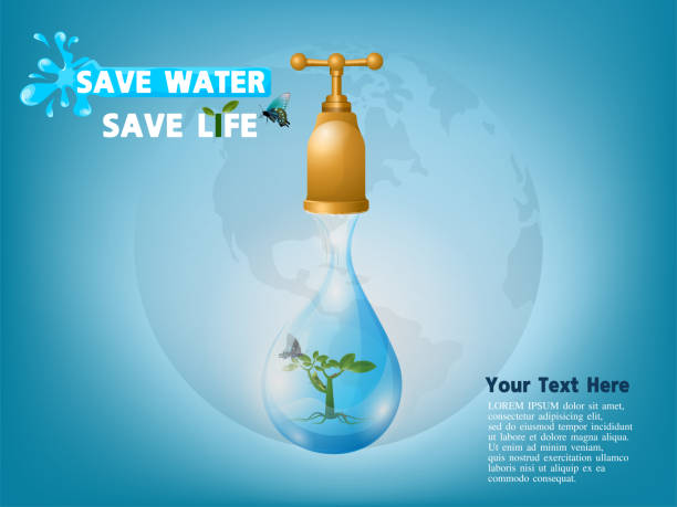 save water save life concept. conserve concept of saving water for life on earth from small to large life, vector illustration. - tap water stock illustrations