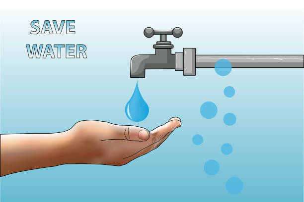 save water - tap water stock illustrations