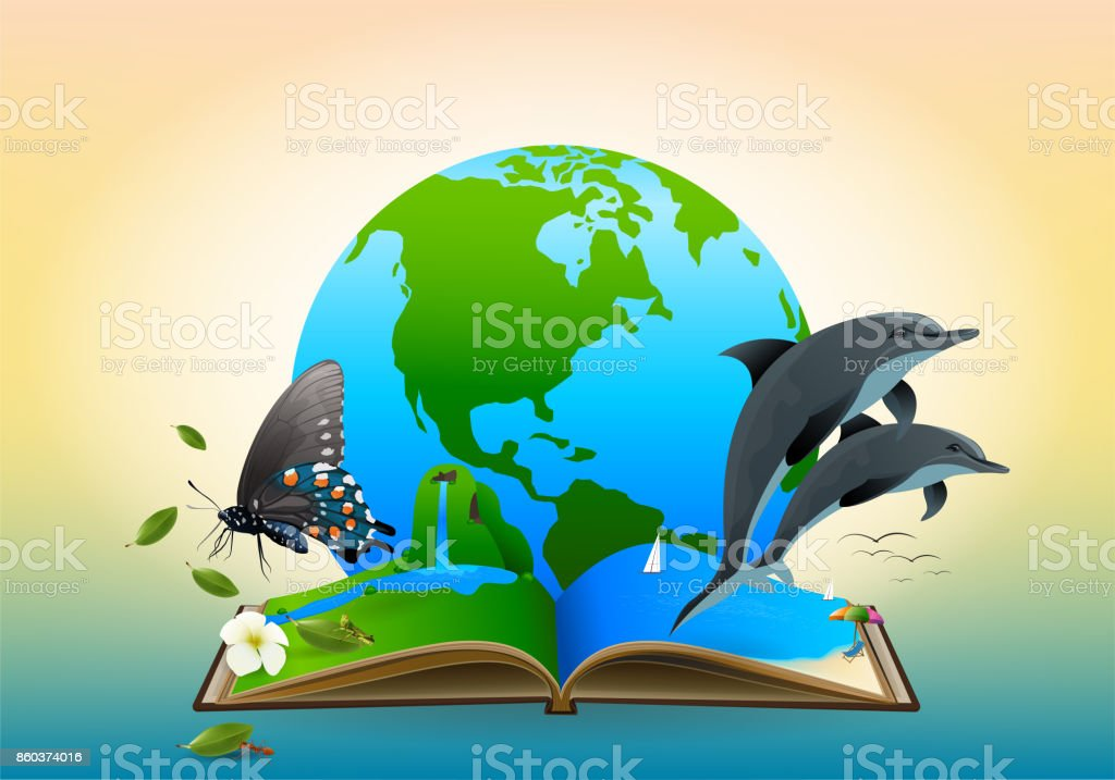 Save World Concept Open A Book With A Beautiful World Forest Ocean