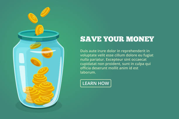 Save your money. Concept picture with glossy jar and gold coins. Vector illustration Save your money. Concept picture with glossy jar and gold coins. Vector illustration. Dollar in bottle saving, moneybox banner glassware jar stock illustrations