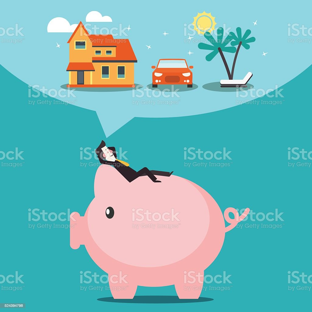 Saving and investing money. Future financial planning vector concept vector art illustration