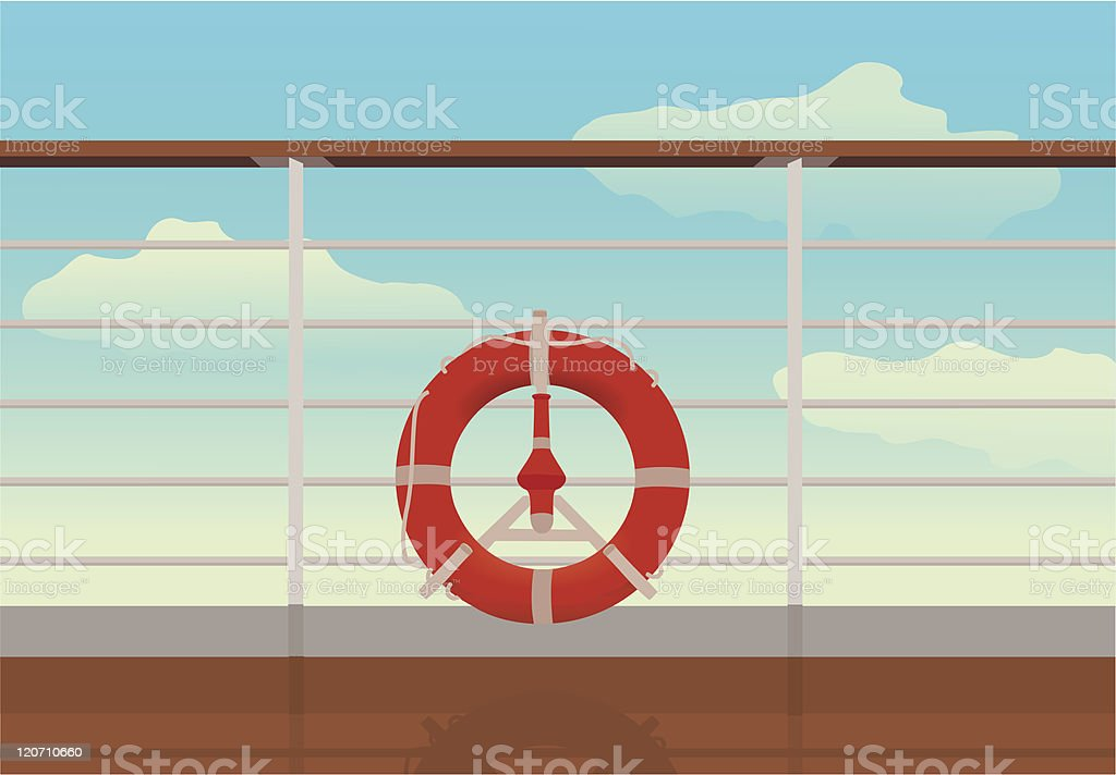 saving buoy in deck of cruise ship. vector art illustration