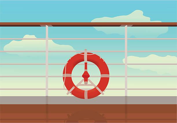 saving buoy in deck of cruise ship. vector art illustration