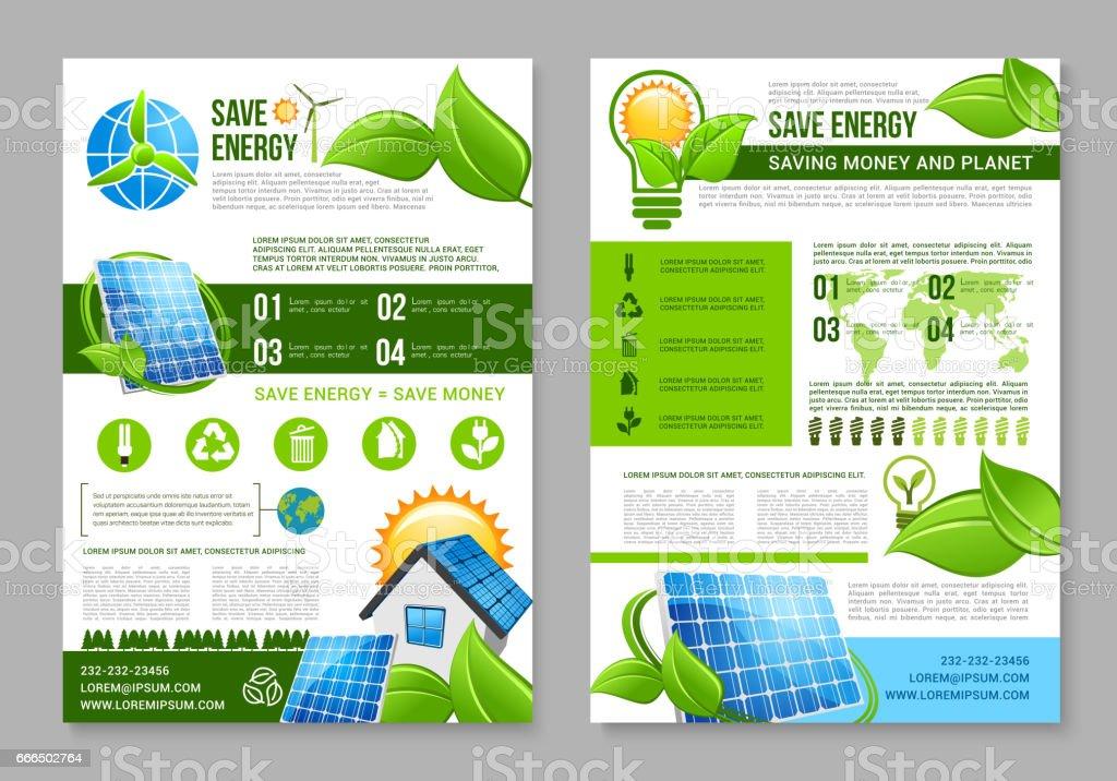 Saving Energy Brochure Template For Eco Design Stock Vector Art - Money flyer template