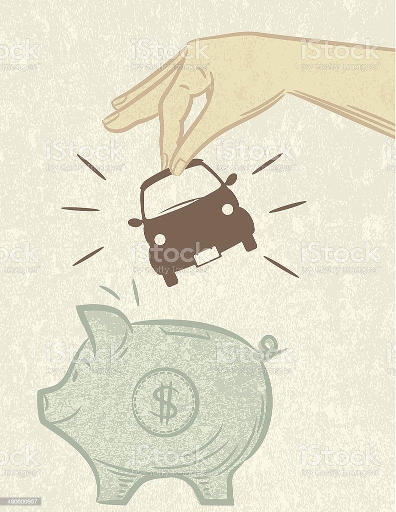 Saving For A Car Piggy Bank royalty-free stock vector art
