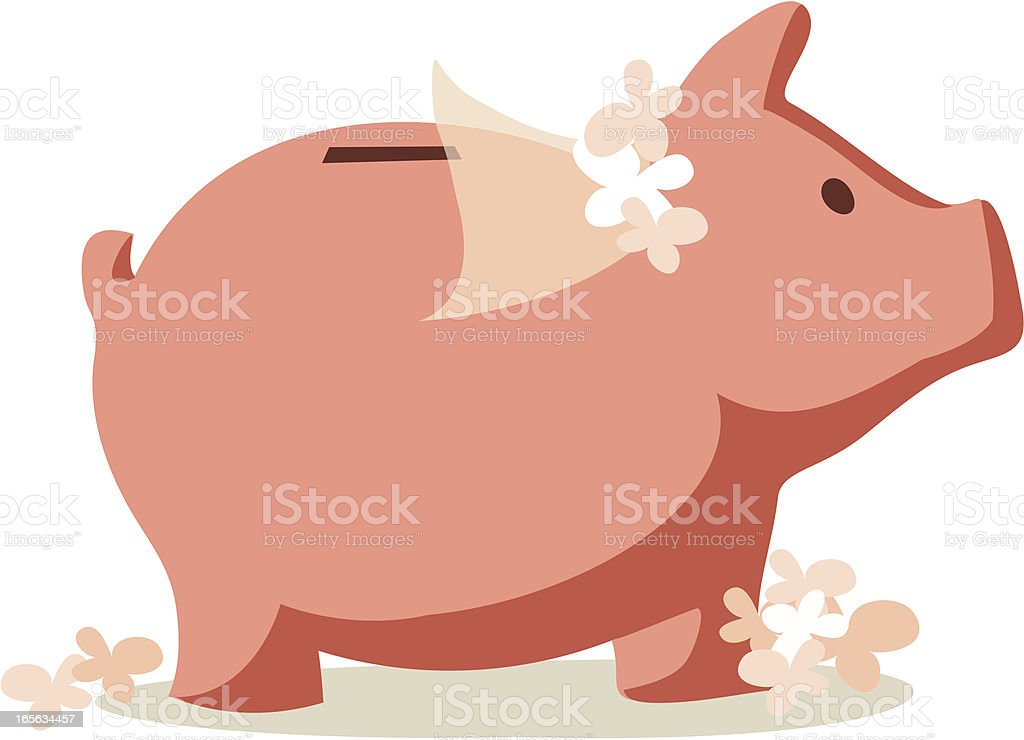 Saving for a Wedding: Piggy Bank with Bridal Veil royalty-free stock vector art
