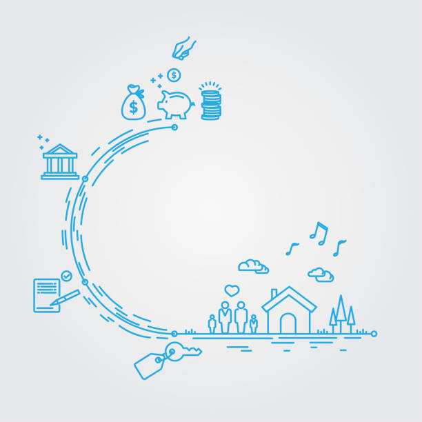 Saving money and mortgage plan vector art illustration