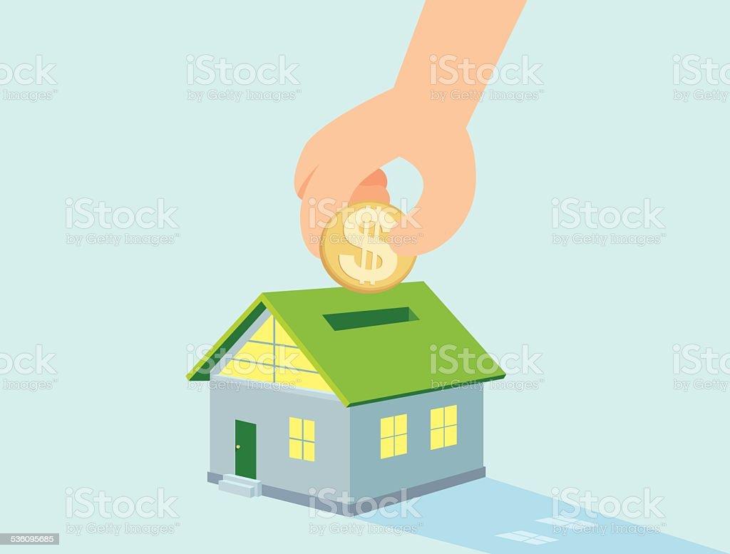 Saving money for buy house vector art illustration