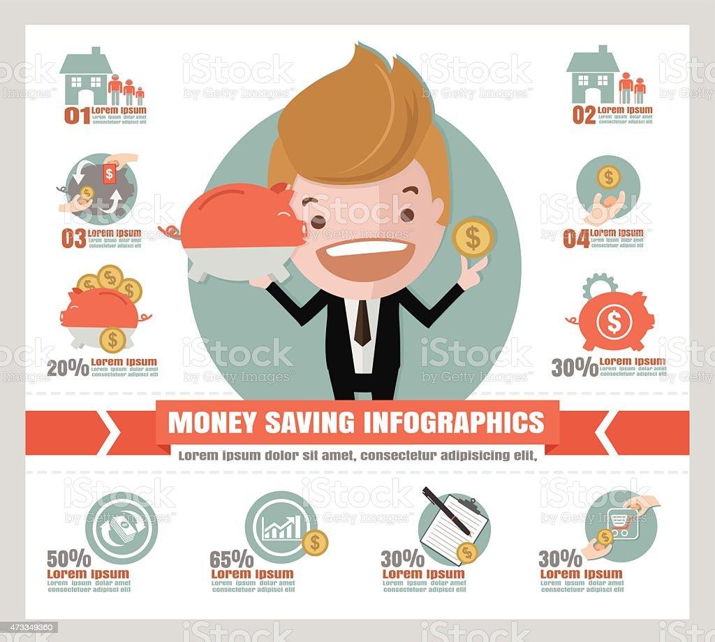 saving money info graphics. vector art illustration