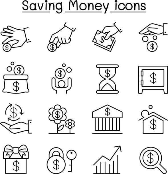 Saving money & Investment icon set in thin line style Saving money & Investment icon set in thin line style bonus march stock illustrations