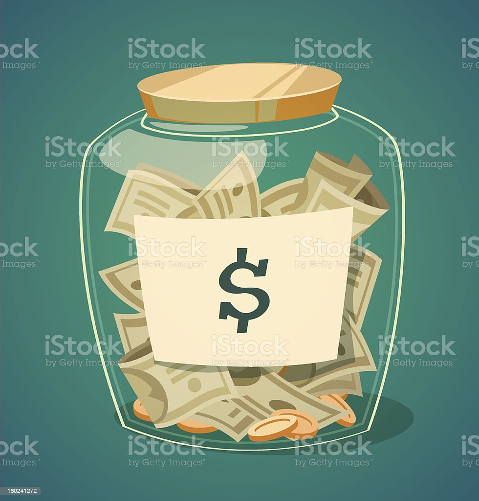 Saving money jar. Vector illustration. vector art illustration