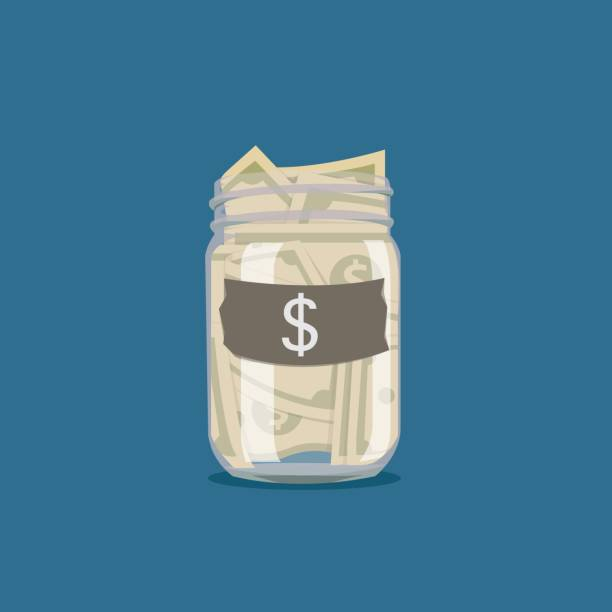 Saving money jar. Vector illustration. Saving money jar. Vector illustration. jar stock illustrations
