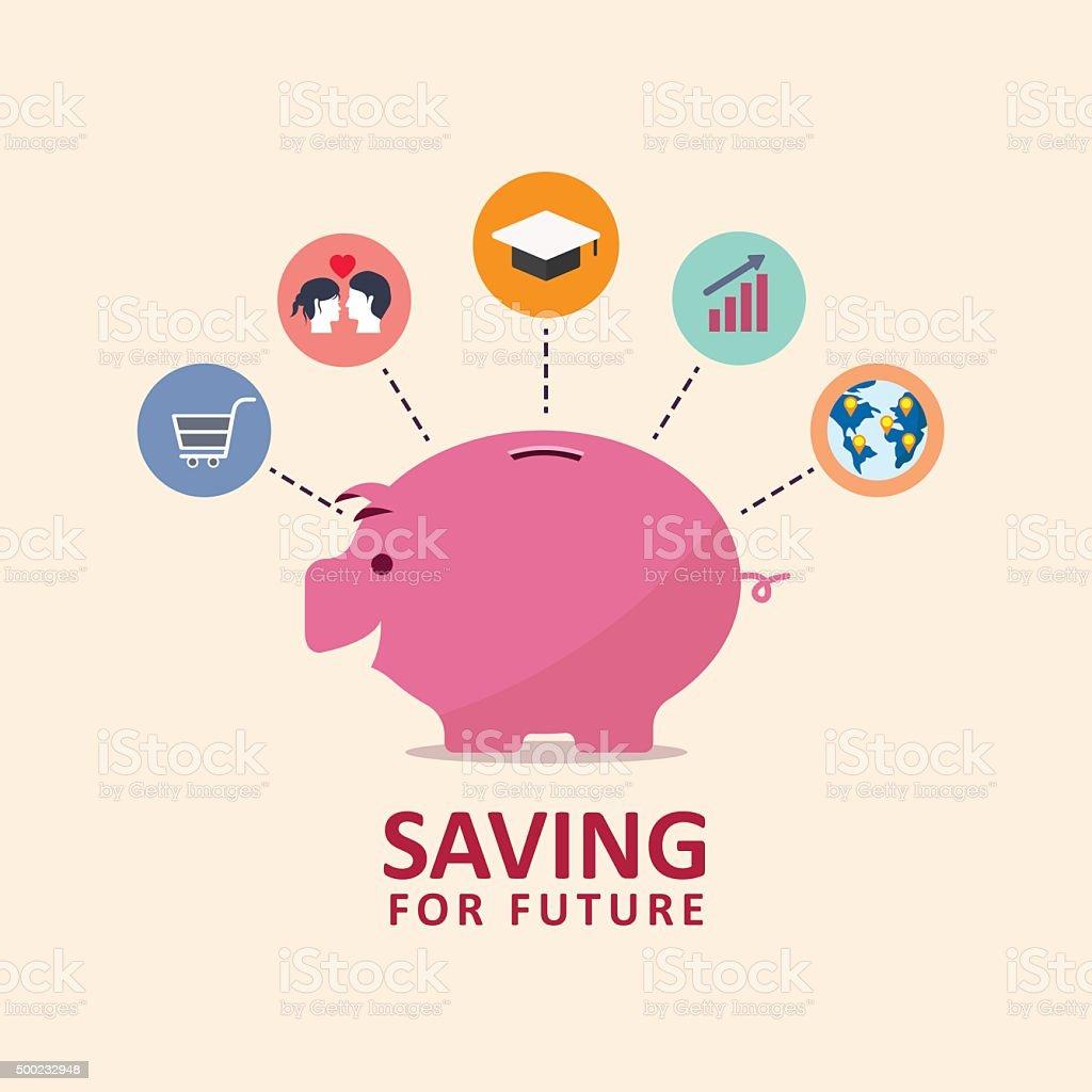saving money piggy bank vector art illustration