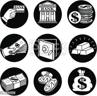Vector icons with a banking theme.