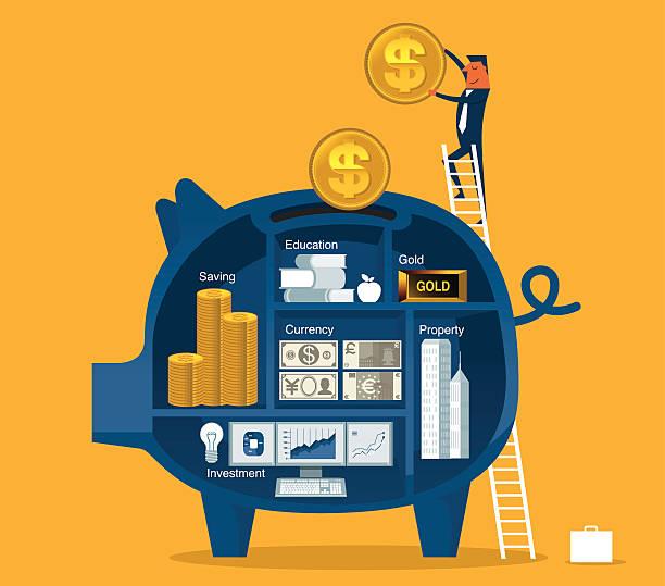 ilustrações, clipart, desenhos animados e ícones de economizar dinheiro - investimento