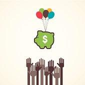 saving or making money concept vector